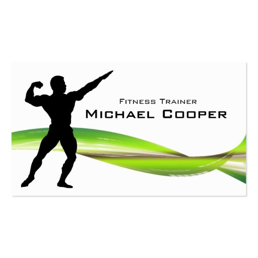 Fitness Business Card Green Wave Body Builder