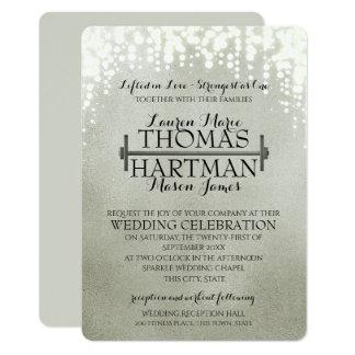 Fitness Curl Bar Sparkle Wedding Card