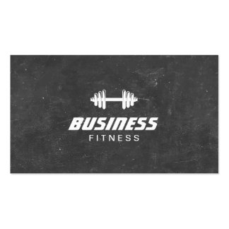 Fitness Dumbbell Chalkboard Personal Trainer Business Card