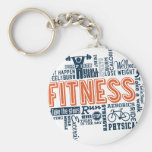 Fitness, exercise, health basic round button keychain
