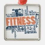 Fitness, exercise, health square metal christmas ornament