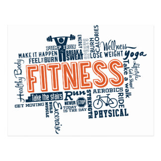 Fitness, exercise, health postcard