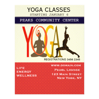 """Fitness Exercise Pilates Yoga Modern Personalized 8.5"""" X 11"""" Flyer"""
