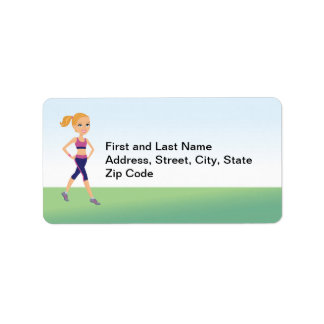 Fitness Girl Cartoon Address Label