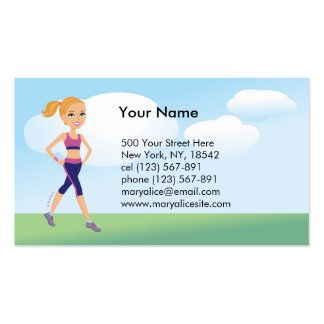 Fitness Girl Cartoon Double-Sided Standard Business Cards (Pack Of 100)