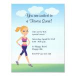 Fitness Girl Cartoon 4.25x5.5 Paper Invitation Card