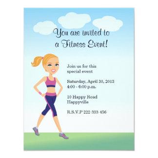 Fitness Girl Cartoon Custom Invitations