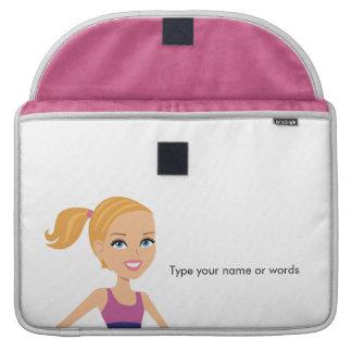 Fitness Girl Cartoon Sleeve For MacBooks