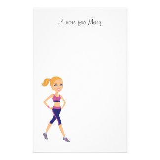 Fitness Girl Cartoon Stationery