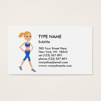 Fitness Girl Cartoon Style 2 Business Card