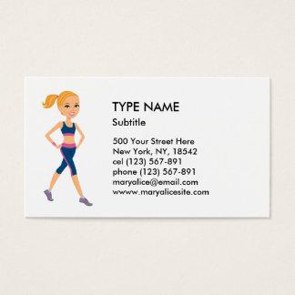 Fitness Girl Cartoon Style Business Card