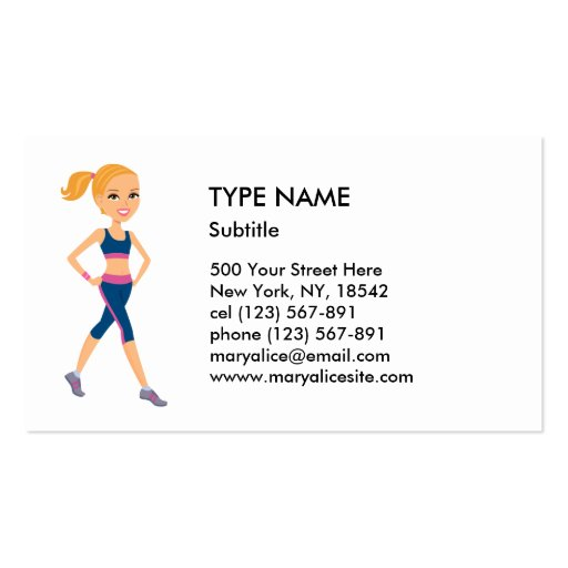 Fitness Girl Cartoon Style Business Card Templates