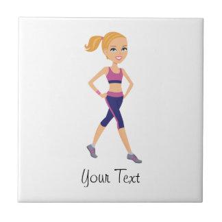 Fitness Girl Cartoon Tile