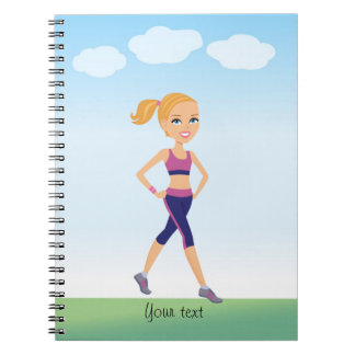 Fitness Girl Notebook with Personalized Name