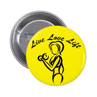 Fitness Girl Strength Training Live Love Lift Button
