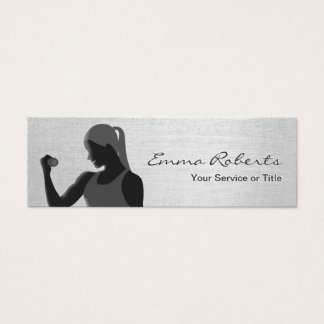 Fitness Girl Trainer Stylish Silver Mini Mini Business Card