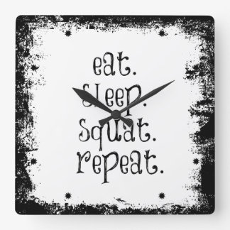 Fitness Gym Quote: Eat, Sleep, Squat Square Wall Clock