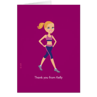 Fitness Instructor Girl Thank you Card