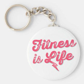 Fitness is Life Hot Pink Fitness Motivation Keychain