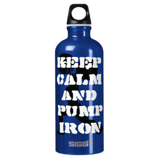 fitness keep calm and pump iron aluminum water bottle
