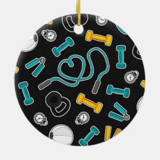Fitness Love Pattern Aqua and Yellow Ceramic Ornament