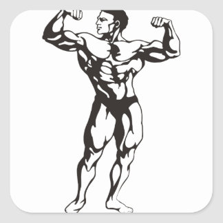 Fitness Man Muscles Square Sticker