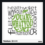 """Fitness motivational poster wall decal<br><div class=""""desc"""">Fitness motivational poster in apple shape and health keywords in the background</div>"""