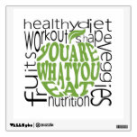 Fitness motivational poster wall decal<br><div class='desc'>Fitness motivational poster in apple shape and health keywords in the background</div>