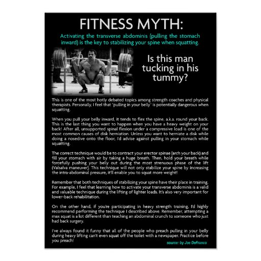 Fitness Myth - Tuck In The Stomach When Squatting Poster