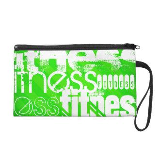 Fitness; Neon Green Stripes Wristlet Purses