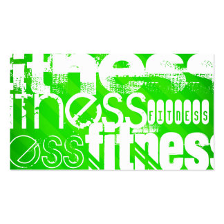 Fitness; Neon Green Stripes Pack Of Standard Business Cards