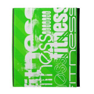 Fitness; Neon Green Stripes iPad Cases