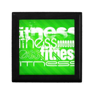 Fitness; Neon Green Stripes Keepsake Boxes