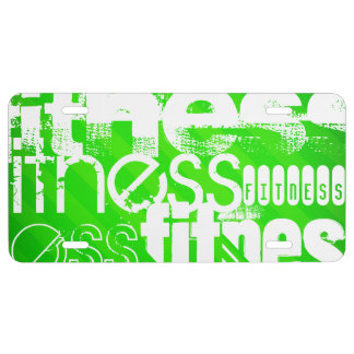 Fitness; Neon Green Stripes License Plate