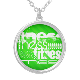 Fitness; Neon Green Stripes Round Pendant Necklace