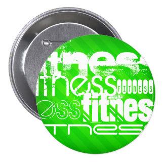 Fitness; Neon Green Stripes Pinback Button