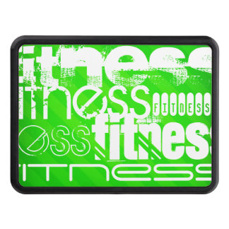 Fitness; Neon Green Stripes Trailer Hitch Cover