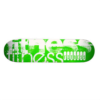 Fitness; Neon Green Stripes Skateboard