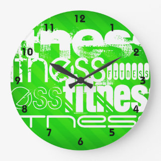 Fitness; Neon Green Stripes Wallclock