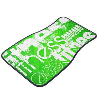 Fitness; Neon Green Stripes Car Mat