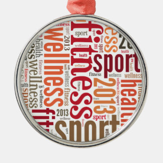 Fitness Round Metal Christmas Ornament
