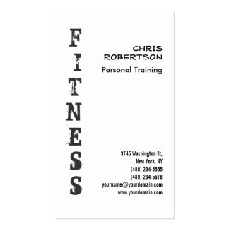 Fitness Personal Trainer Black White Business Card