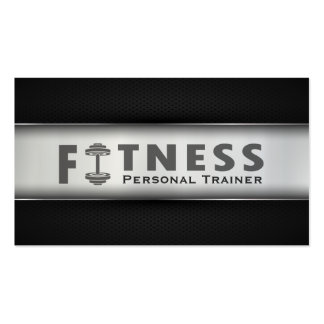 Fitness Personal Trainer Bold Text Dumbbell Logo Business Card