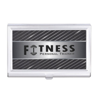 Fitness Personal Trainer Bold Text Dumbbell Logo Business Card Holder