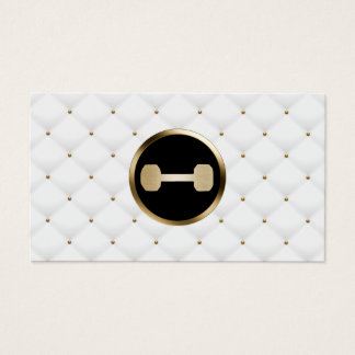 Fitness Personal Trainer Modern Gold & White Quilt Business Card