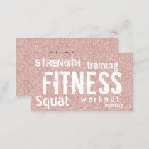 Fitness Personal Trainer Rose Gold Glitter Business Card