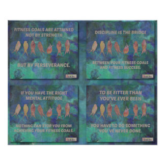 Fitness Quotes with Birds in Blues Collage 3 Print