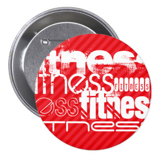 Fitness; Scarlet Red Stripes Pinback Button