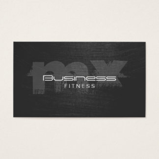 Fitness Scratched Dark Monogram Loyalty Punch Business Card