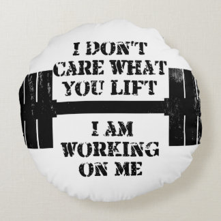 Fitness Self Motivation Round Pillow